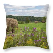 Hay Bales In Summer  Throw Pillow