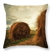 Hay Bales On Farm Field Throw Pillow
