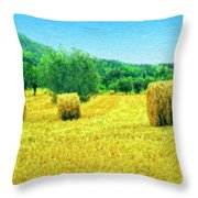 Hay Harvest In Tuscany Throw Pillow