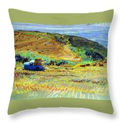 Hay Harvest On The Coast Throw Pillow