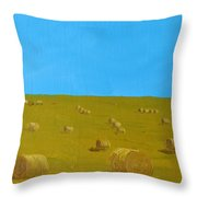 Hay Harvest Throw Pillow by Tom Amiss