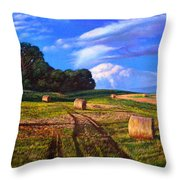 Hay Rolls On The Farm By Christopher Shellhammer Throw Pillow
