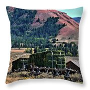 Hay Wagons Throw Pillow