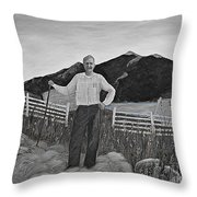 Haymaker With Pitchfork B W Throw Pillow