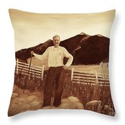 Haymaker With Pitchfork Vintage Throw Pillow