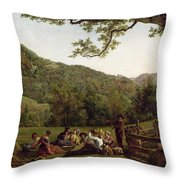 Haymakers Picnicking In A Field Throw Pillow