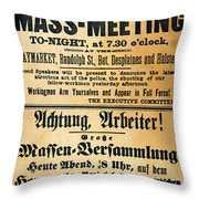 Haymarket Handbill, 1886 Throw Pillow