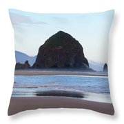 Haystack At Cannon Beach In June Throw Pillow