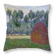 Haystack At Giverny, 1885 Throw Pillow