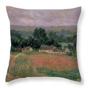 Haystack At Giverny Throw Pillow