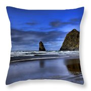 Haystack Rock And The Needles Throw Pillow