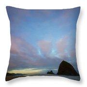 Haystack Rock Morning Throw Pillow