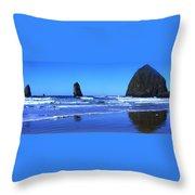Haystack Rock Panoramic Throw Pillow