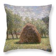 Haystacks At Giverny Throw Pillow