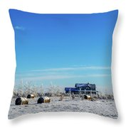Haystacks In The Snow Before The Sunset Date Throw Pillow