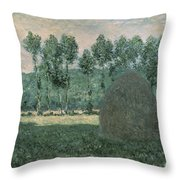 Haystacks Near Giverny Throw Pillow