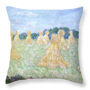 Haystacks The Young Ladies Of Giverny Sun Effect Throw Pillow