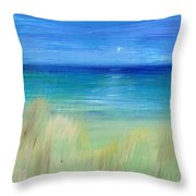 Hazy Beach Mini Oil On Masonite Throw Pillow