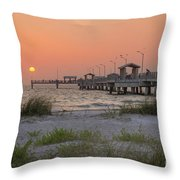 Hazy Sunset At Fort Desoto Park, Florida Throw Pillow