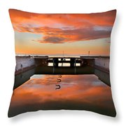 Hdr Sunset Over Harbor And Graffiti Throw Pillow