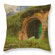 he Bag End Hobbit House Lord of the Rings Shire Illustration Dictionary Art Throw Pillow