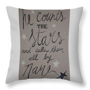 He Counts The Stars Throw Pillow