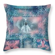 He Has Resin Happy Easter Throw Pillow