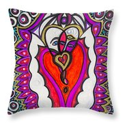 He She Heart Throw Pillow