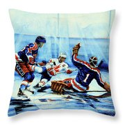 He Shoots Throw Pillow by Hanne Lore Koehler