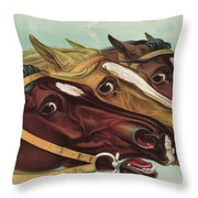 Head And Head At The Winning Post Throw Pillow