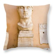 Head From The Statue Of Constantine, Rome, Italy Throw Pillow