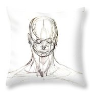 Head, Front Drawing. Throw Pillow