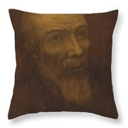 Head Of A Bald Man With A Beard Throw Pillow