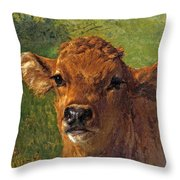 Head Of A Calf Throw Pillow
