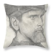 Head Of A Man With A Hat Throw Pillow