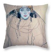 Head Of A Woman Throw Pillow by Gustav Klimt
