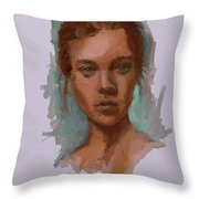 Head Of A Woman Study Throw Pillow
