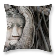 Head Of Buddha Statue In The Tree Roots Throw Pillow