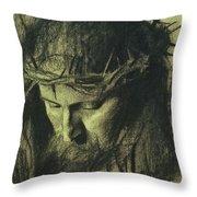 Head Of Christ Throw Pillow by Franz Von Stuck