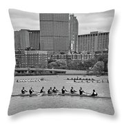 Head Of The Charles. Charles Rowers Black And White Throw Pillow