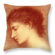 Head Study Of Maria Zambaco The Wine Of Circe Throw Pillow