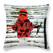 Heading For The Slopes Throw Pillow