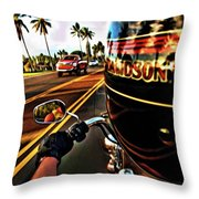 Heading Out On Harley Throw Pillow