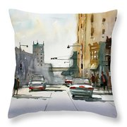 Heading West On College Avenue - Appleton Throw Pillow by Ryan Radke