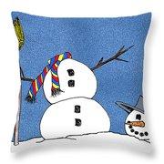 Headless Snowman Throw Pillow by Nancy Mueller