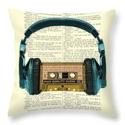 Blue Headphone And Yellow Cassette Collage Print Throw Pillow