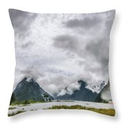 Heads In The Clouds Panorama At Milford Sound Throw Pillow