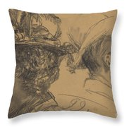 Heads Of A Man And A Woman Throw Pillow