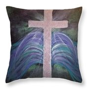 Healing In His Wings Throw Pillow
