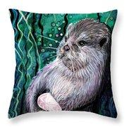 Healing Otter Throw Pillow